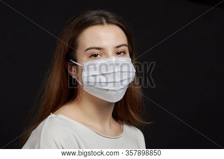 Portrait Of People In A Medical Mask A Girl With A Medical Mask A Boy In A Mask, To Protect Against