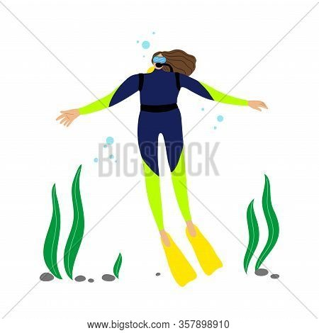 Scuba Diver Girl Swimming Underwater And Diving In Deep-sea Or Ocean. Vector Illustration In The Fla