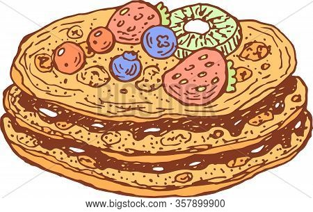 Pancake With Chocolate And Fresh Berries. The Colorful Doodle Cartoon Isolated Element. Shrovetide H