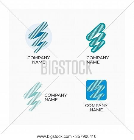 Abstract Company Logo. Stripe Logo For Business. Company Name Icon. Set Of Logos Of Different Shapes