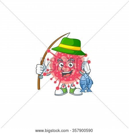 Cartoon Character Of Funny Fishing Coronavirus Emergency