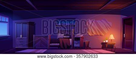 Cowboy Bedroom Interior At Night. Vector Cartoon Illustration Of Empty Room In Rustic House Or Ranch