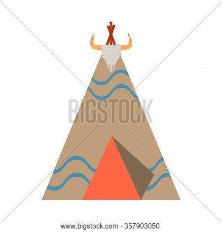 Vector Color Illustration Icon With Ceremonial Indian Chief Lodge, Wigwam. Wild West Symbolic Textil