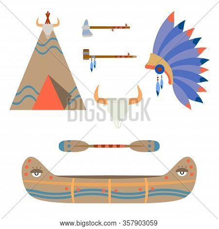 Vector Color Illustration Icon Set - Ceremonial Indian Chief Leather Canoe, Tomahawk, Crown, Wigwam,
