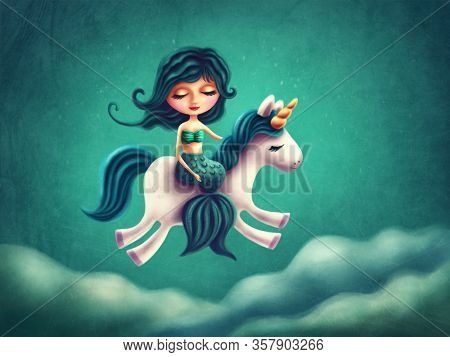 Illustration of a little mermaid girl with unicorn
