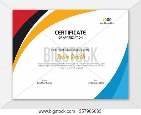 Multi-color Waves Certificate Design Template || Colored Waves Vector Background Letter Certificate