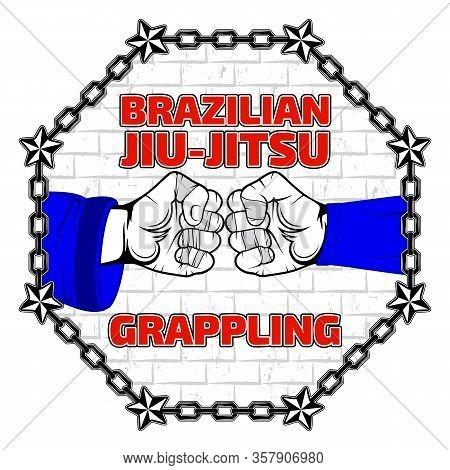 Vector Image Of Fighter Hands. Brazilian Jiu-jitsu And Grappling. Bjj Vs Wrestling. Warrior Of The W