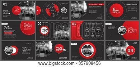 Presentation And Slide Layout Background. Design Red And Black Circle Template. Use For Coronavirus,