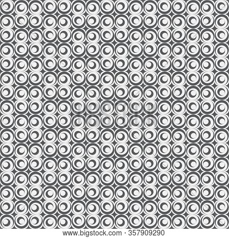 Monochrome Seamless Pattern. Abstract Modern Vector Background With Rombs, Elips, Arcs. Simple Geome