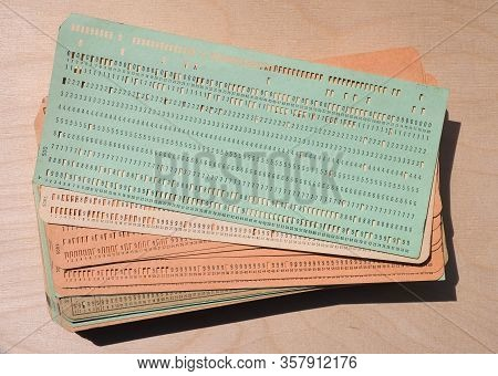 Green Punched Card For Programming