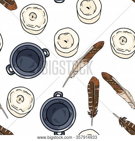 Candles, Feathers And Magic Cauldrons Comic Style Doodles Top View Seamless Border Pattern. Vector W