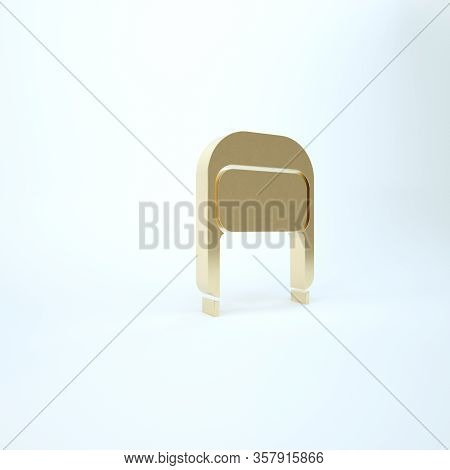Gold Winter Hat With Ear Flaps Icon Isolated On White Background. 3d Illustration 3d Render