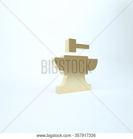 Gold Anvil For Blacksmithing And Hammer Icon Isolated On White Background. Metal Forging. Forge Tool