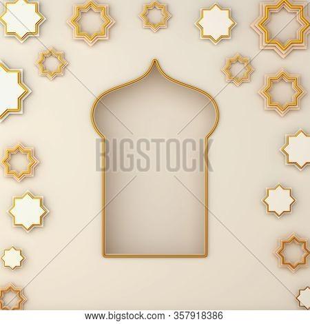 Islamic Background, Arabic Window On White Beige Background. Ramadan Kareem, Eid Al Fitr Adha, Copy