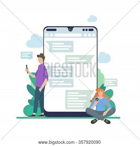 Chat Talk Concept Illustration Of Young People Using Laptops For Sending Messages To Each Other Via