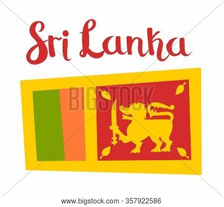 Sri Lanka Flag Vector Icon. Cartoon Flag Ceylon Sign Isolated On White Background
