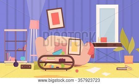 Dirty Messy Room. Damaged Sofa Disorganized Home Furniture Garbage On Floor Shelves Trash Environmen