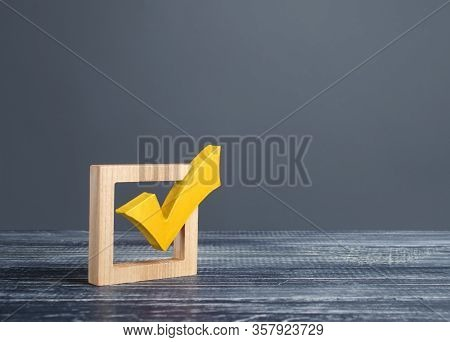 Yellow Voting Tick In A Checkbox. Democratic Institutions, Vote On Democratic Elections, Referendum.