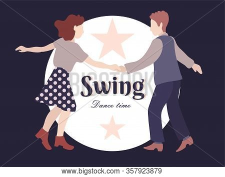 Party Swing Young Couple Dancing Swing, Rock Or Lindy Hop. Retro In Flat Style Hand Drawn. Disc Cove