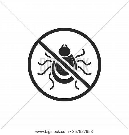 Tick Parasite Warning Sign. Epidemic. Human Mite Parasite. Mite Parasites. Vector