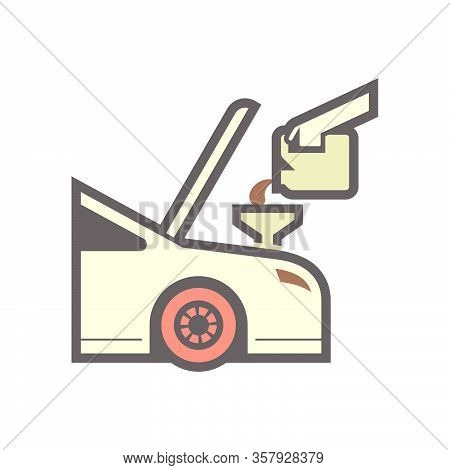Lubricant Oil Filling  Vector Icon Design On White.