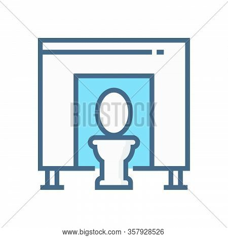Partition Wall Or Divide Space Equipment In Toilet Vector Icon Design On White.