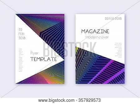 Triangle Cover Design Template Set. Rainbow Abstract Lines On Dark Blue Background. Incredible Cover