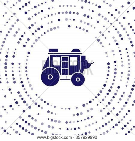 Blue Western Stagecoach Icon Isolated On White Background. Abstract Circle Random Dots. Vector Illus
