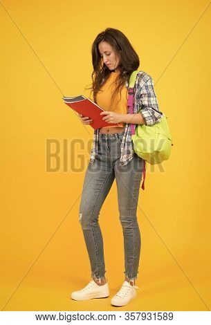 College University Education. School Girl With Backpack. Woman University Student. Final Exam And Gr