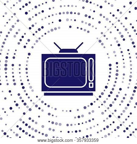 Blue Retro Tv Icon Isolated On White Background. Television Sign. Abstract Circle Random Dots. Vecto