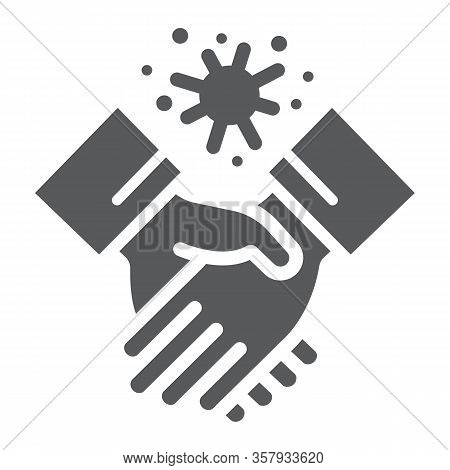 Contagion Handshake Glyph Icon, Virus And Protection, Covid 19 Sign, Vector Graphics, A Solid Patter