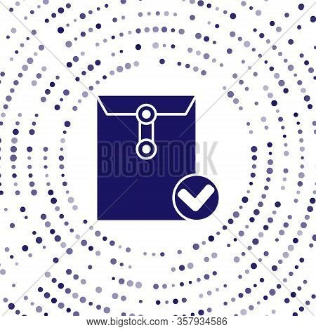 Blue Envelope And Check Mark Icon Isolated On White Background. Successful E-mail Delivery, Email De