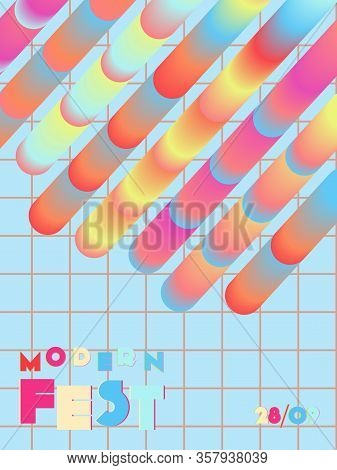 Music Cover In Pink, Blue, Yellow, Red Colors. Rock Concert Flyer. Minimal Tech Brochure. Amplitude