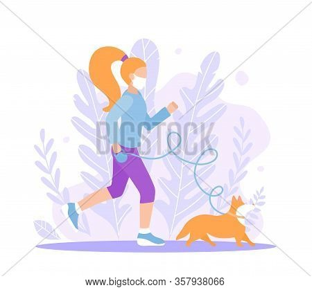 A Sporty Girl Walks In A Mask With A Corgi Dog. Vector Flat Style Illustration Of Quarantine And Iso
