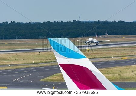 Dusseldorf, Nrw, Germany - June 18, 2019: Dusseldorf, Nrw, Germany - June 18, 2019:  Eurowing Plane