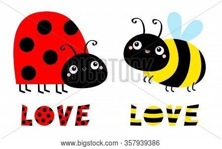 Lady Bug Ladybird Bee Bumblebee Insect Icon Set. Side View. Cute Cartoon Kawaii Funny Baby Character