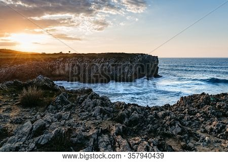 Cliffs At Bufones Of Pria In The Cantabrian Sea, Asturias