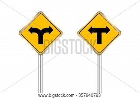 Road Sign Black Arrow Pointing Left And Right, Traffic Road Sign Yellow Isolated On White, Yellow Tr