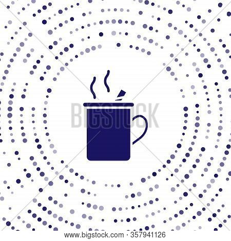 Blue Mulled Wine With Glass Of Drink And Ingredients Icon Isolated On White Background. Cinnamon Sti