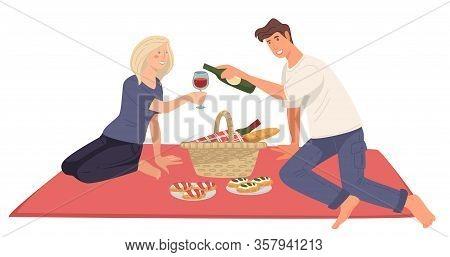 Couple On Picnic, Romantic Date Of Boyfriend And Girlfriend