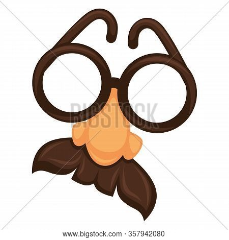 Croucho Funny Mask With Glasses And Norse With Mustache On White Vector
