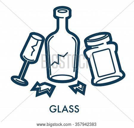 Broken Glass Waste And Disposal Separation, Sorting Trash