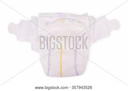 Disposable Baby Diapers Over White Background Children, Hygienic, Baby, Diapers, Isolated, Birth