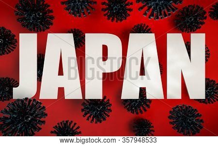 3d Render Of Coronavirus Pandemy Warning In Japan. Corona Virus Caused Covid-19 Epidemy In Japan. St