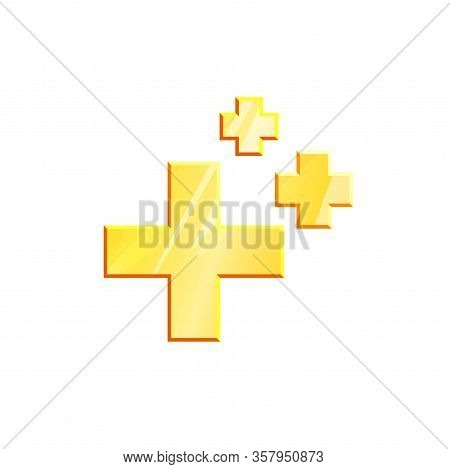 Gold Health Regeneration Symbol Crosses On White Background. Three Geometric Metal Shape. Healing Si