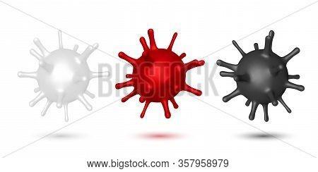 Coronavirus, Virus Strain Of Mers-cov And Novel Coronavirus 2019-ncov, Covid-19. Vector Dangerous Vi