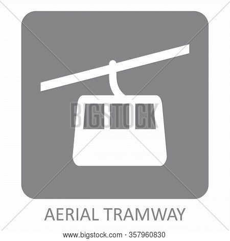Aerial Tramway Gray Icon On White Background