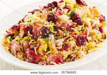 Persian saffron rice with cherries poster