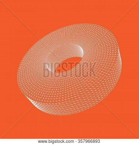 Vector Illustration Of 3d Tube Shape From The Lines. Abstract Polygonal Shape And Simple Geometric F