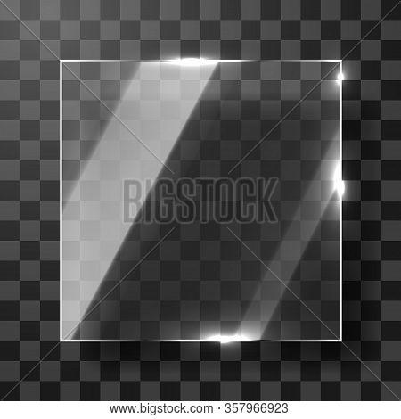 Empty Square Transparent Glass Framework. Modern Background.